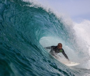 Monster athlete Bobby Martinez surfs in Back Draft.