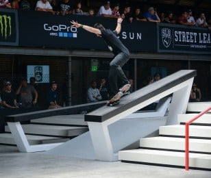 Images of Chris Cobra Cole in action at Los Angeles stop of Street League Series