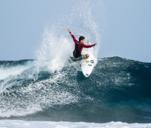 Monster Energy sponsored athlete Miguel Pupo at the Hurley Lowers Surf Competition in Trestles, California.