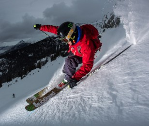Kye Petersen skiing in Pemberton, BC