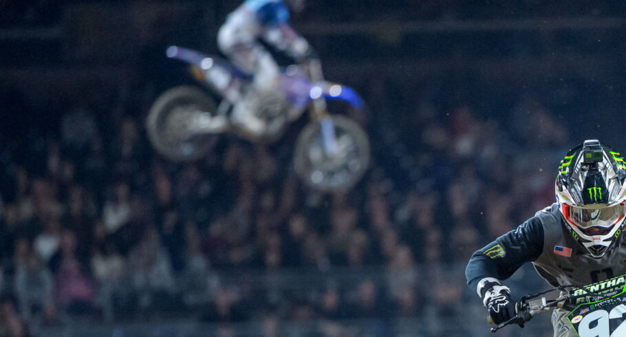 Monster athletes at the 2018 Supercross race in San Diego, CA