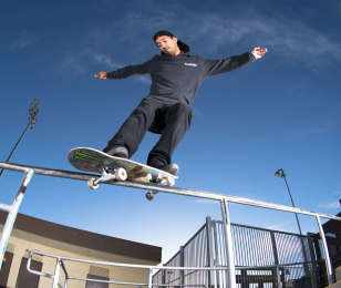 Images of Kelvin Hoefler skateboarding in Temecula, California