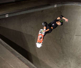 Moto Shibata skateboarding in Orange, California