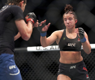 Maycee Barber vs. Roxanne Modaffer during the UFC 246 fight at the Park Theater on January 17, 2020 in Las Vegas, Nevada.